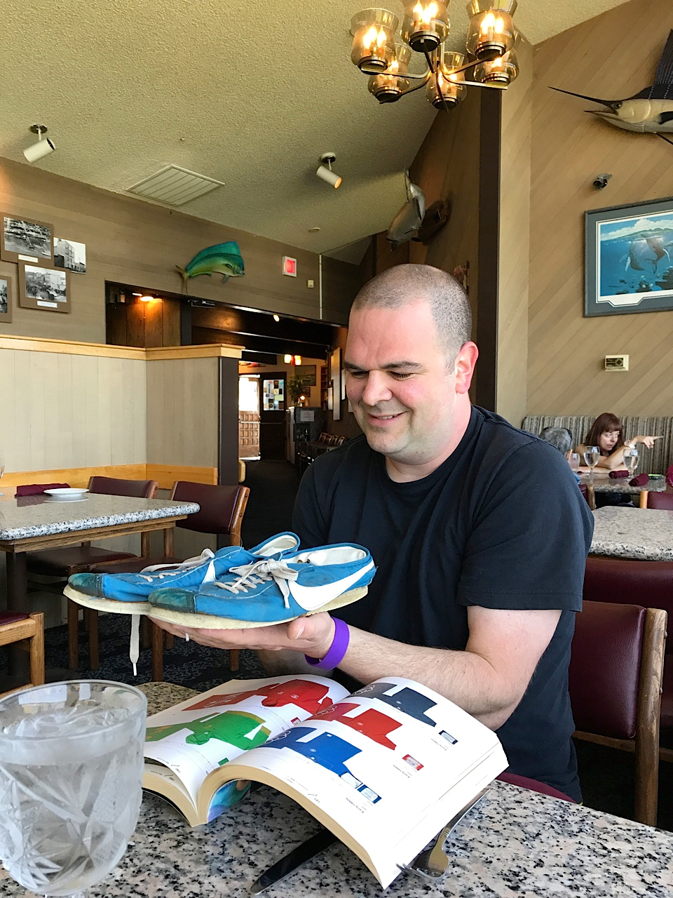 Jordan Geller with Steve Prefontaine's 1972 Nike Finland Blues