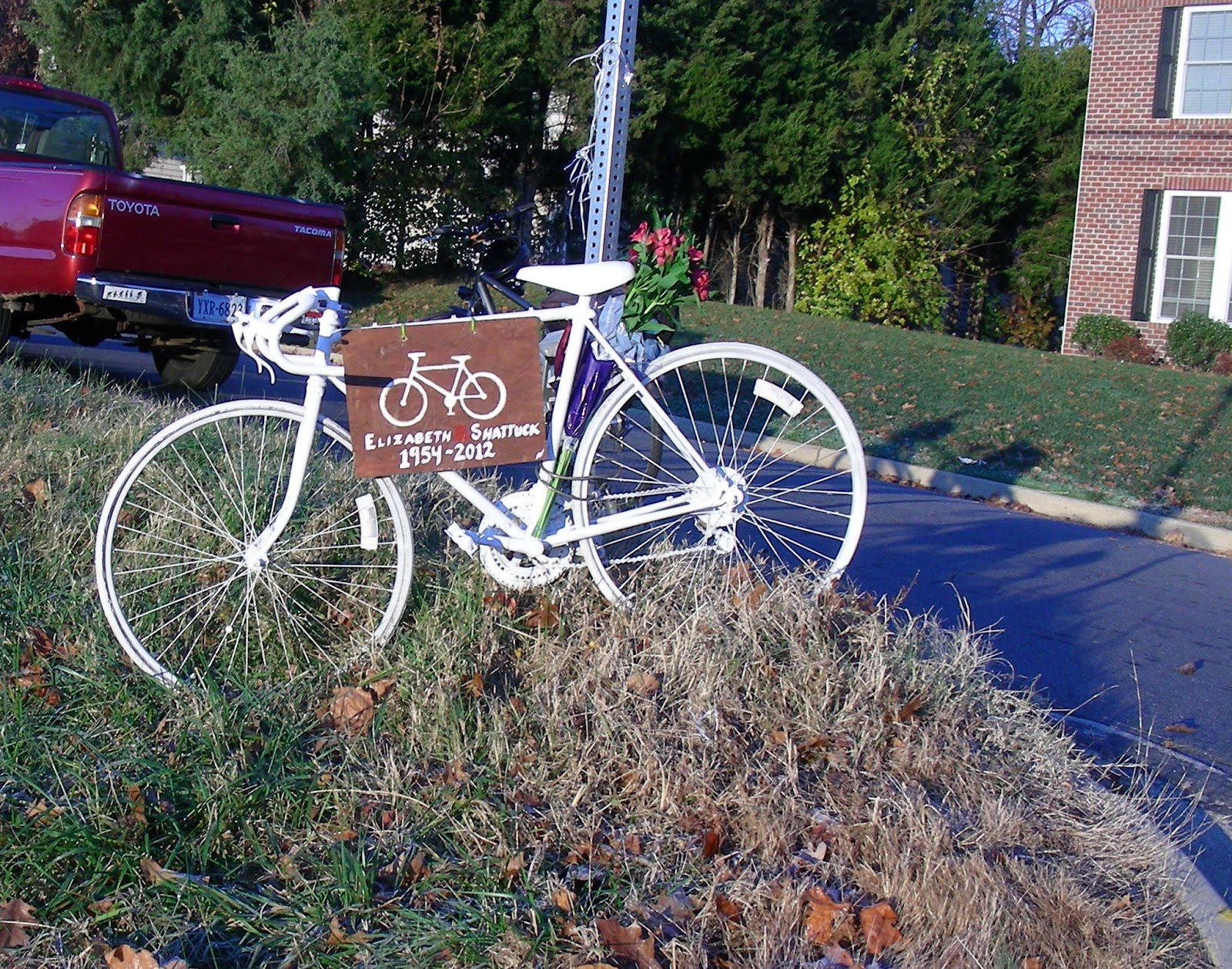 ghost bike placed at site of recent bicycle fatality