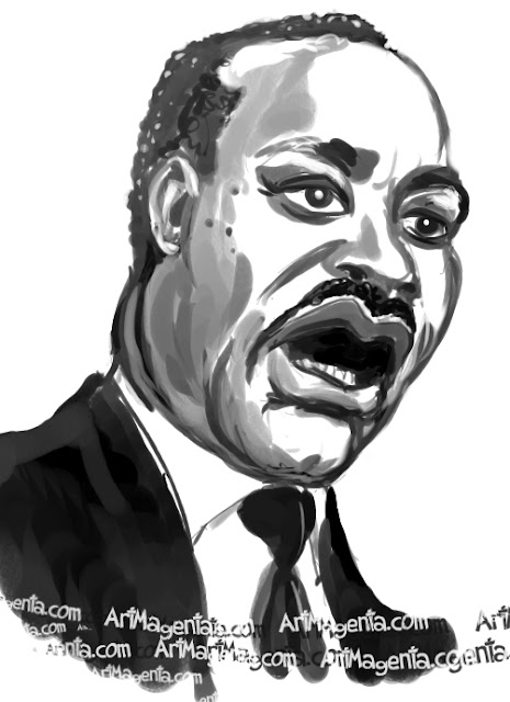 Martin Luther King caricature cartoon. Portrait drawing by caricaturist Artmagenta.