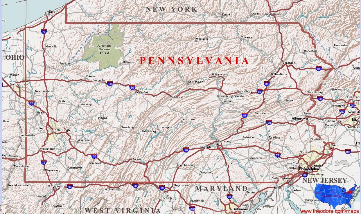 Pennsylvania state free printable map photo file.