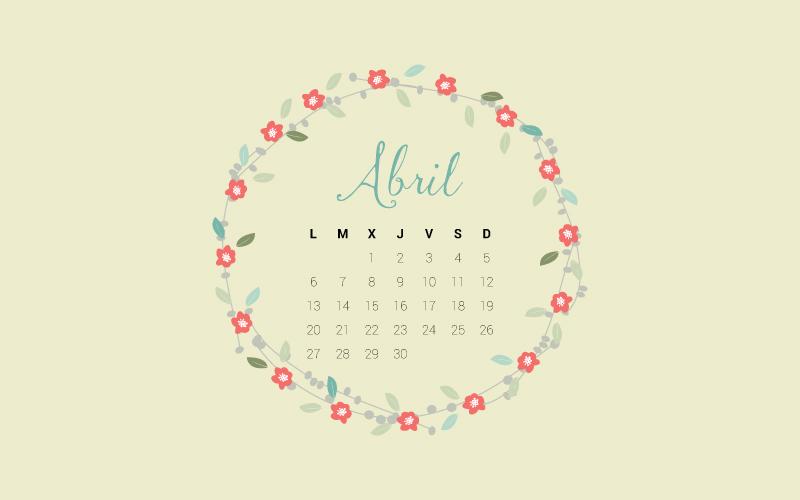 fondo de escritorio con calendario de abril y motivos primaverales