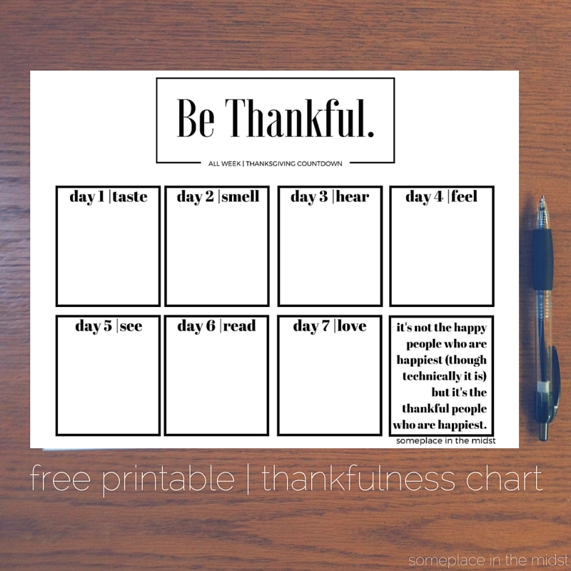 free printable thankfulness chart