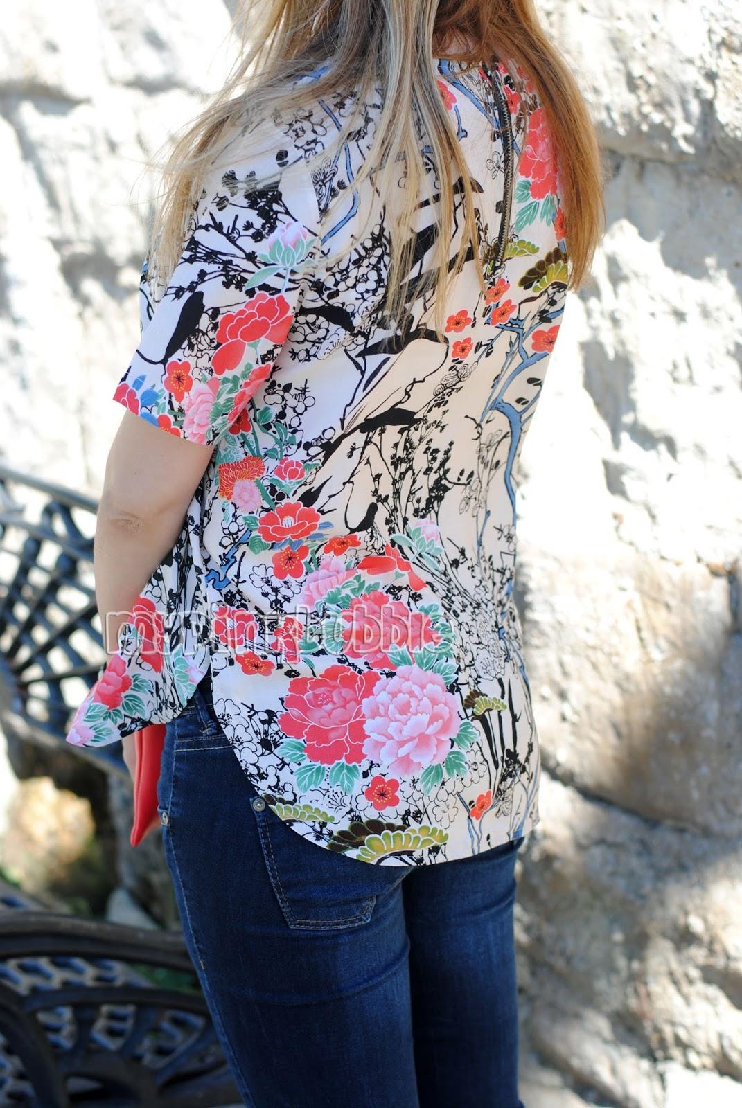 camisa flores japonesas trasera