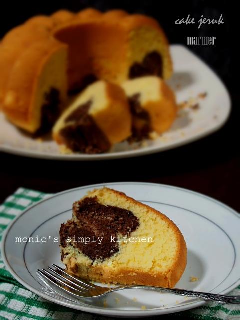 cara membuat cake jeruk marmer