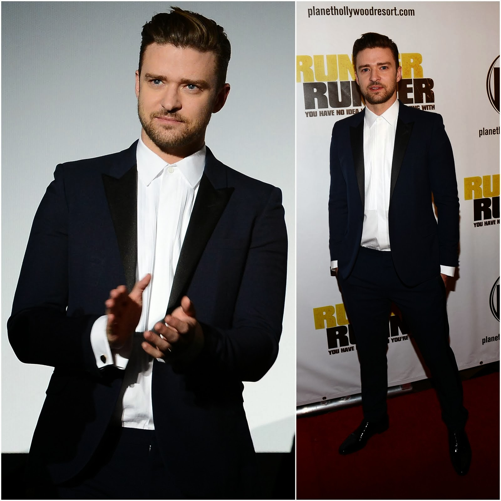 00O00 Menswear Blog: Justin Timberlake in Saint Laurent - 'Runner Runner' Premiere, Las Vegas
