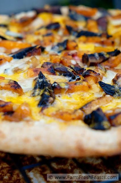 Spicy sriracha-seasoned grilled butternut squash and portobello mushrooms make a winter vegetarian pizza with a kick. You can break out the grill for this one if you dare.