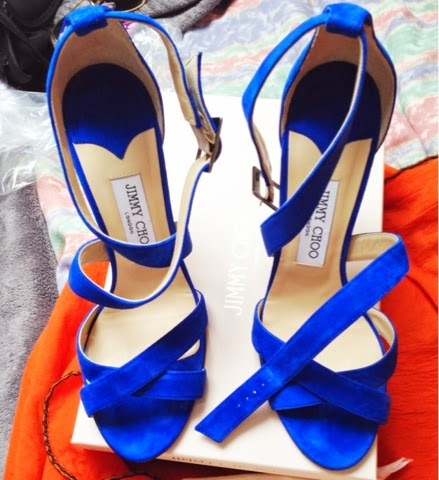 light blue suede Jimmy Choo lottie sandals