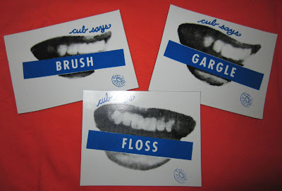 cub fridge magnets: brush, gargle, floss