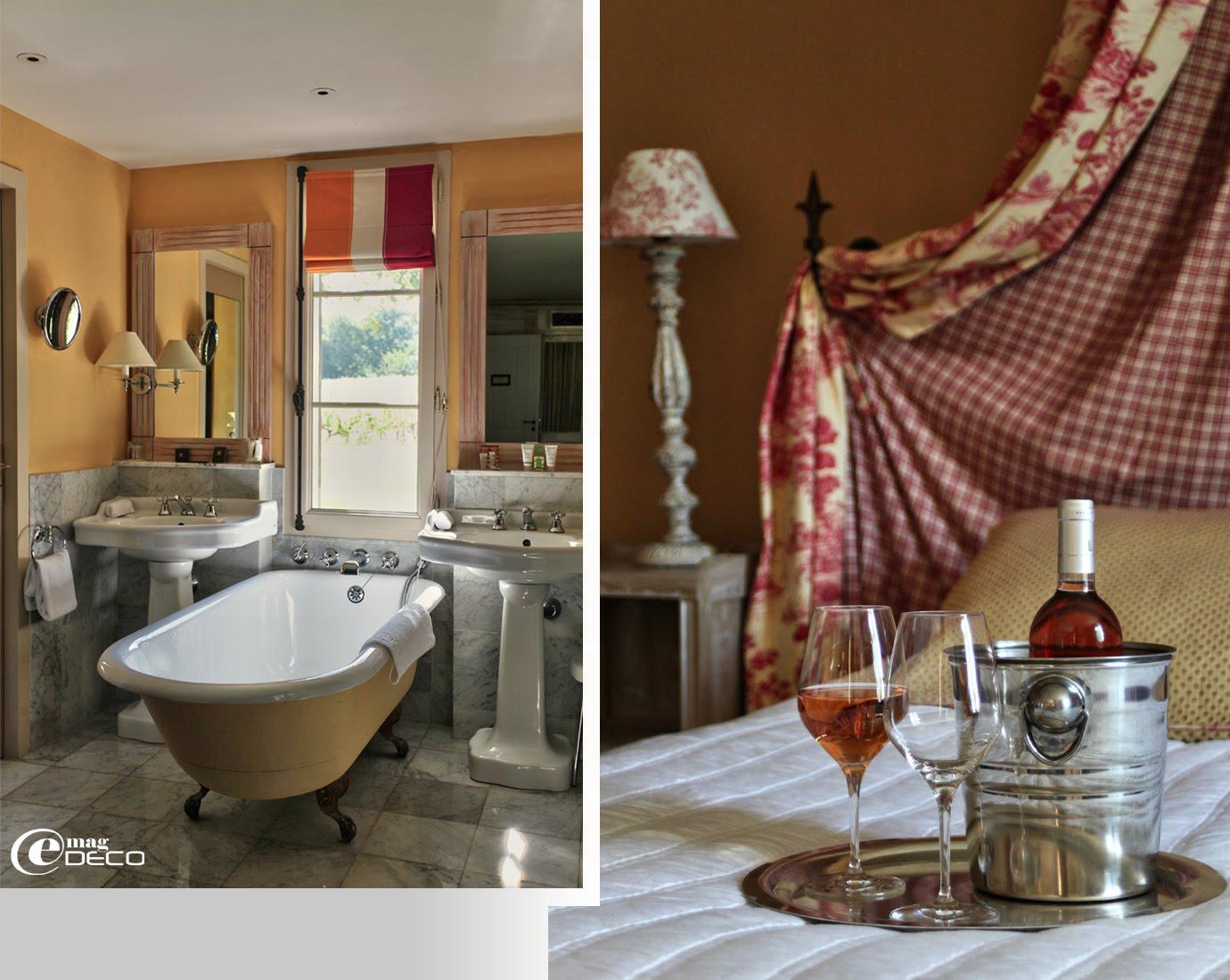Salle de bain rétro, Les Sources de Caudalie, établissement hôtelier 5 étoiles près de Bordeaux