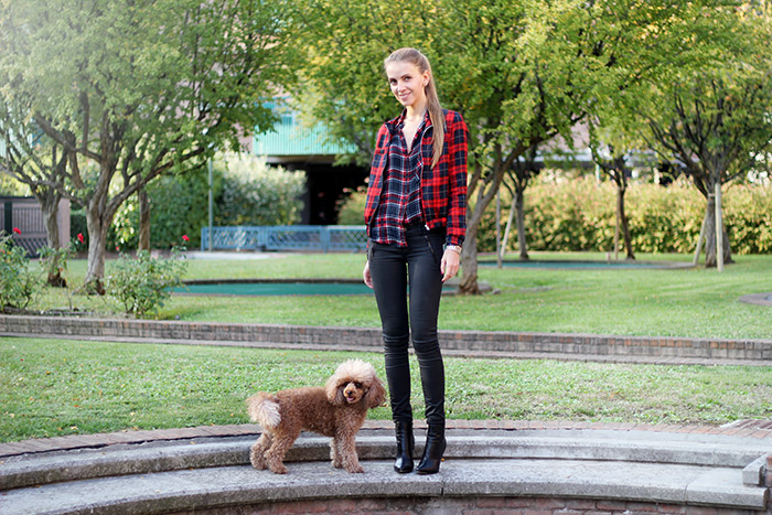 tartan bomber jacket, plaid shirt, black waxed jeans, fall outfit, fashion