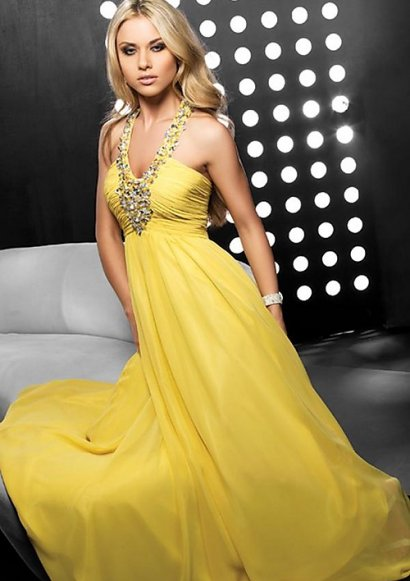 yellow 2 piece prom dress help