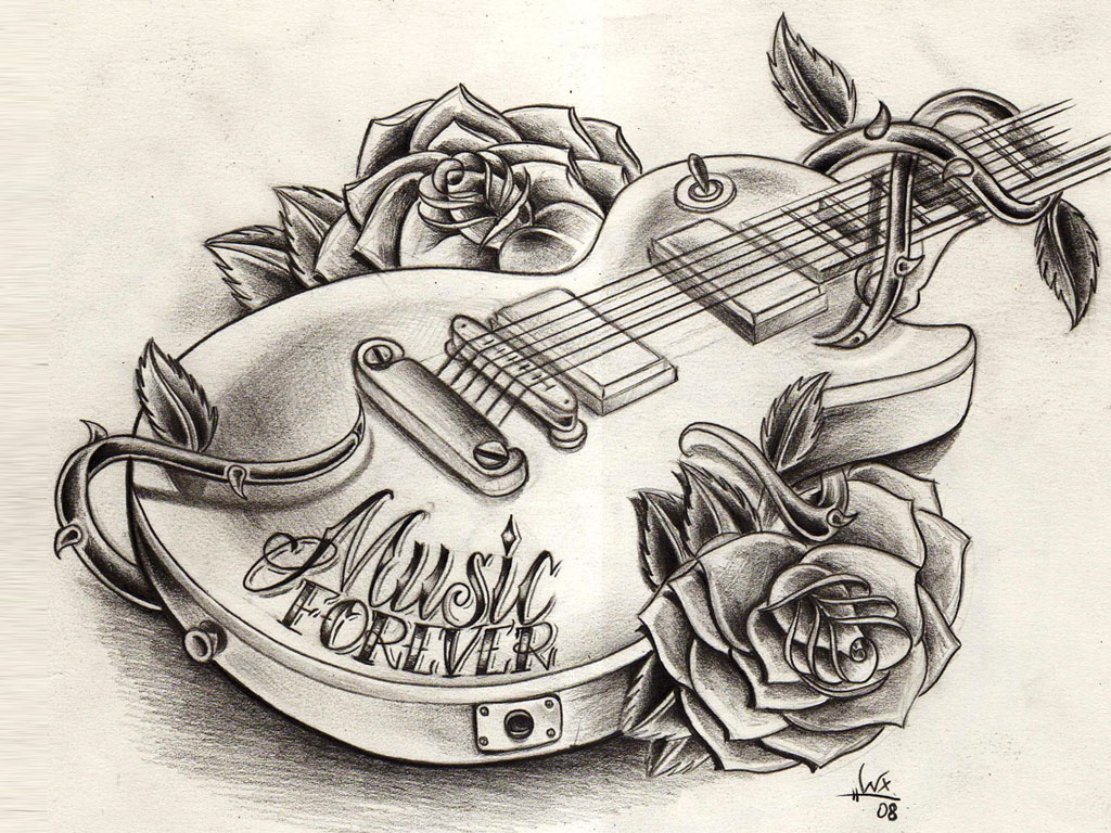 9 cool guitar tattoos tattoo design ideas for Drawing design ideas