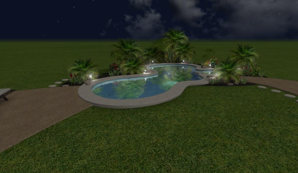diseño 3D de piscina residencial, con luces de noche 2