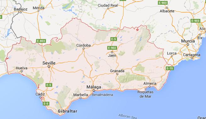 Mapa para imprimir de Andaluca  Espaa Mapa por provincias