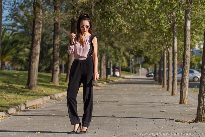 Blogger de moda valenciana con look de Fiestas Navideñas con zapatos de Yves Saint Laurent