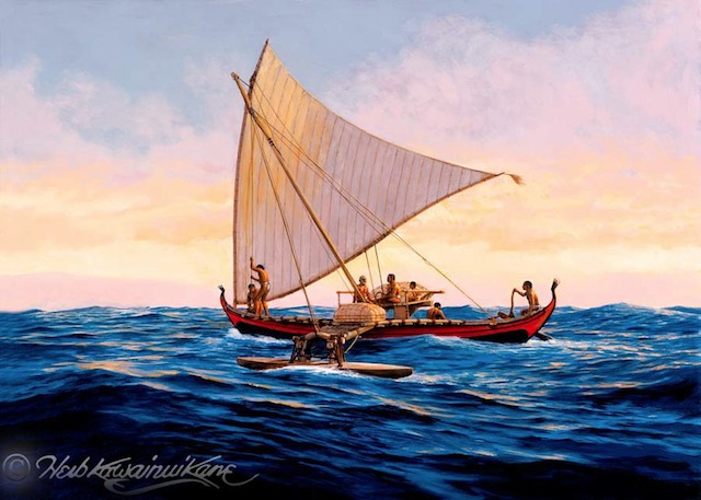 A canoe of the Caroline Islands, by Herb Kane