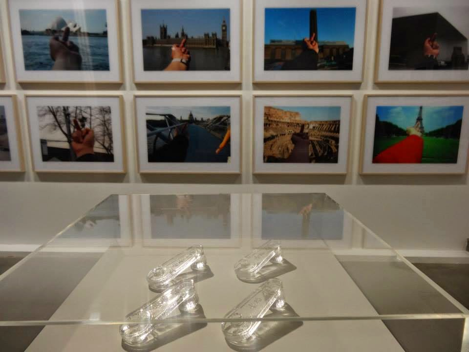 Ai Weiwei Exhibition at Lisson Gallery, London - Glass window cranks in the front and photos in the background
