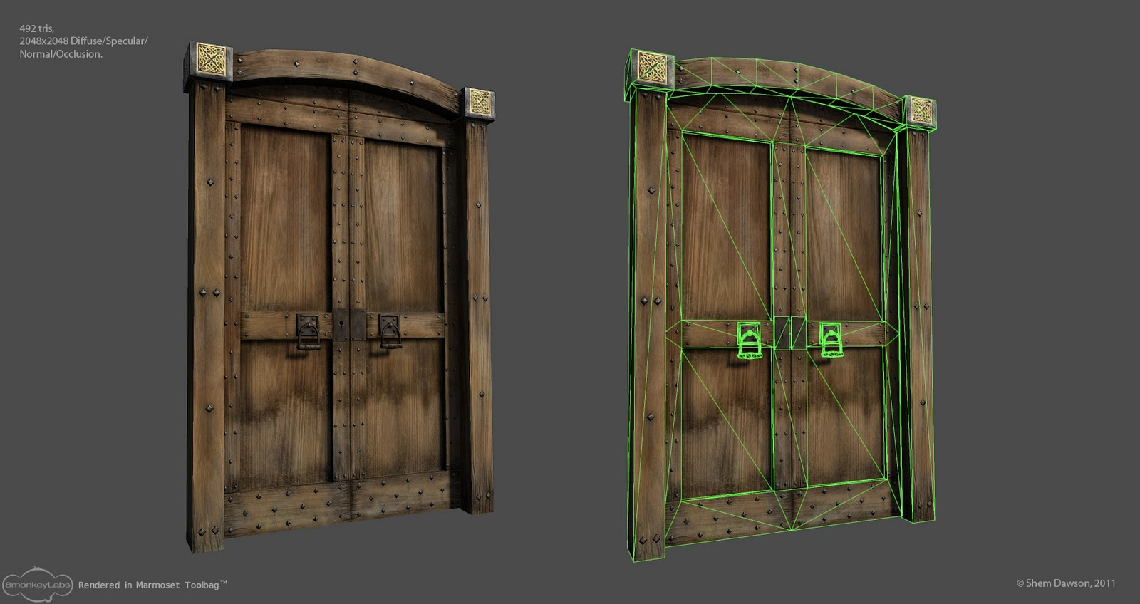 Medieval/Fantasy Door - Game ready asset. & The Art of Shem Dawson: Medieval/Fantasy Door - Game ready asset.