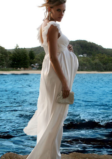 affordable long maternity wedding dress with handmade flowers