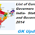 List of Current Governors of India 2014-Various Indian States & Governors
