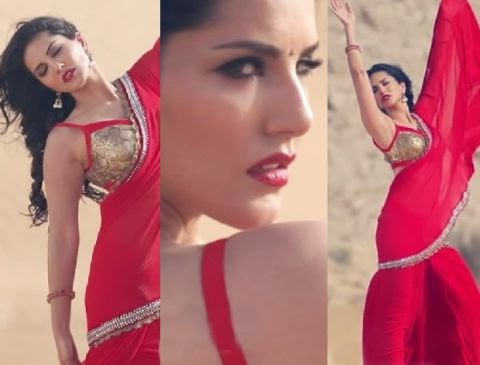 Sunny sexy photo in red sari