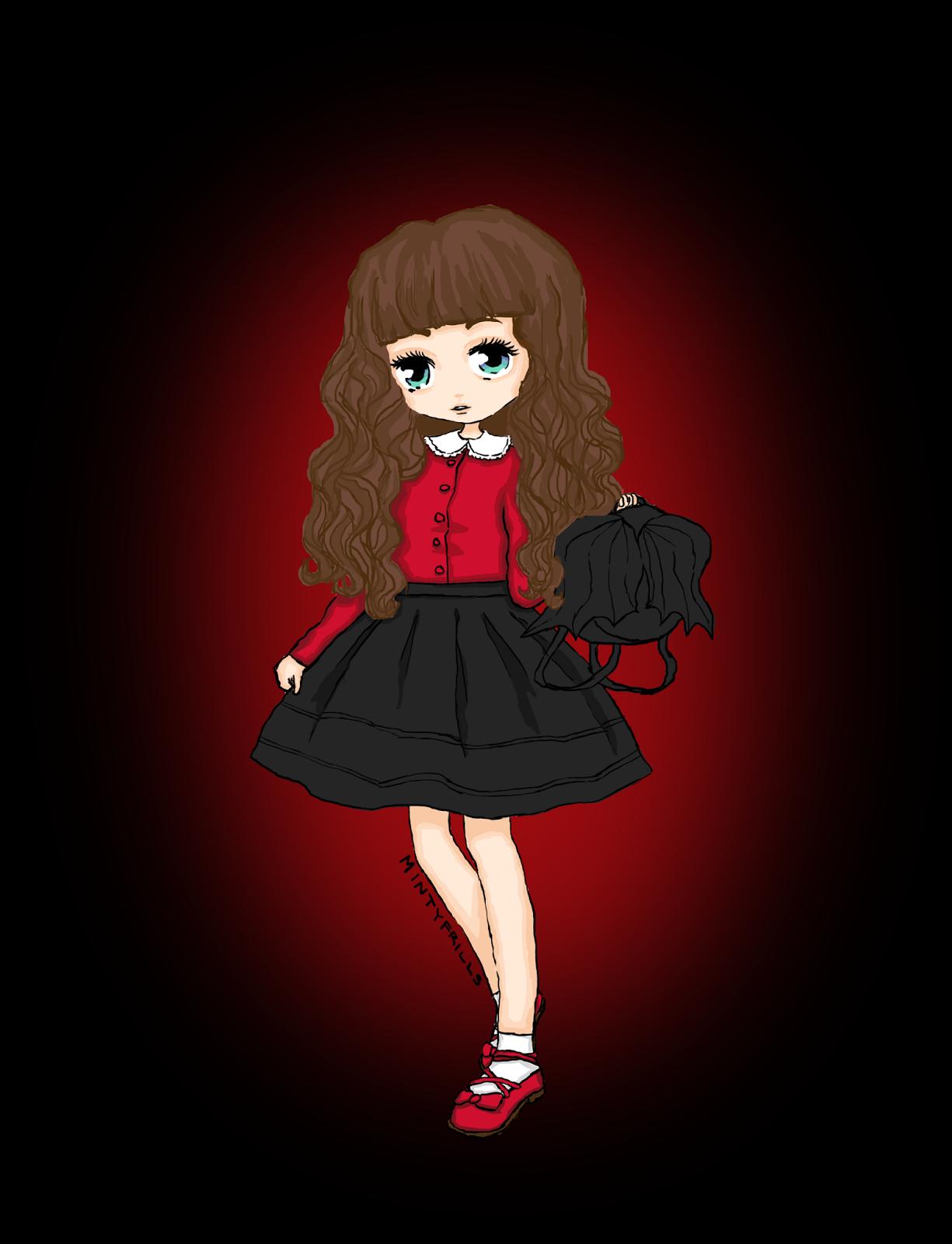 2 cute red dress illustration