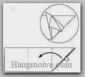 Bước 9: Mở lớp giấy thứ hai ra, kéo và gấp về bên trái.