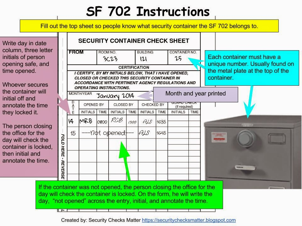 Security Container Information, Standard Form 700
