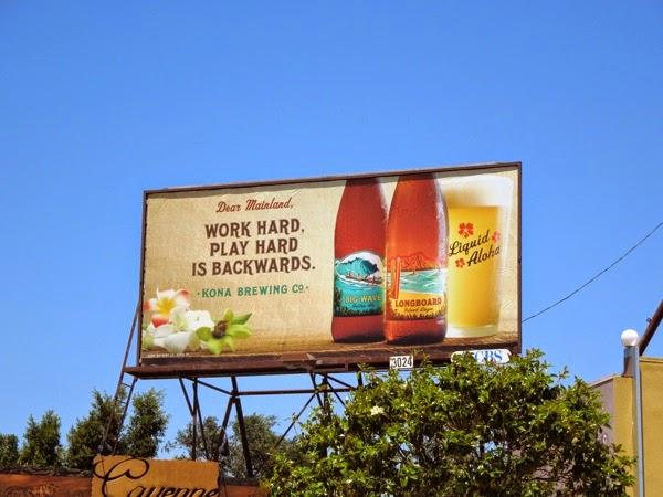 Work hard Kona Brewing Co billboard