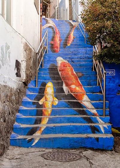 boyalı adımlar,boyalı merdivenler,boyalı basamaklar,sokak sanatı