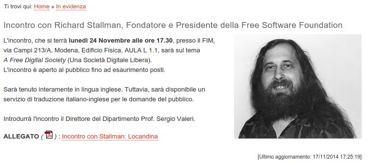 Modena, 24 Novembre: Incontro con Richard Stallman presso il FIM Università di Modena e Reggio Emilia