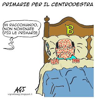 Berlusconi, centrodestra, primarie, satira, vignetta