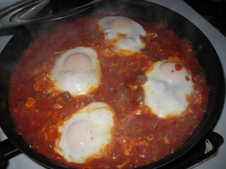 Moroccan Merguez Ragout With Poached Eggs Recipe — Dishmaps