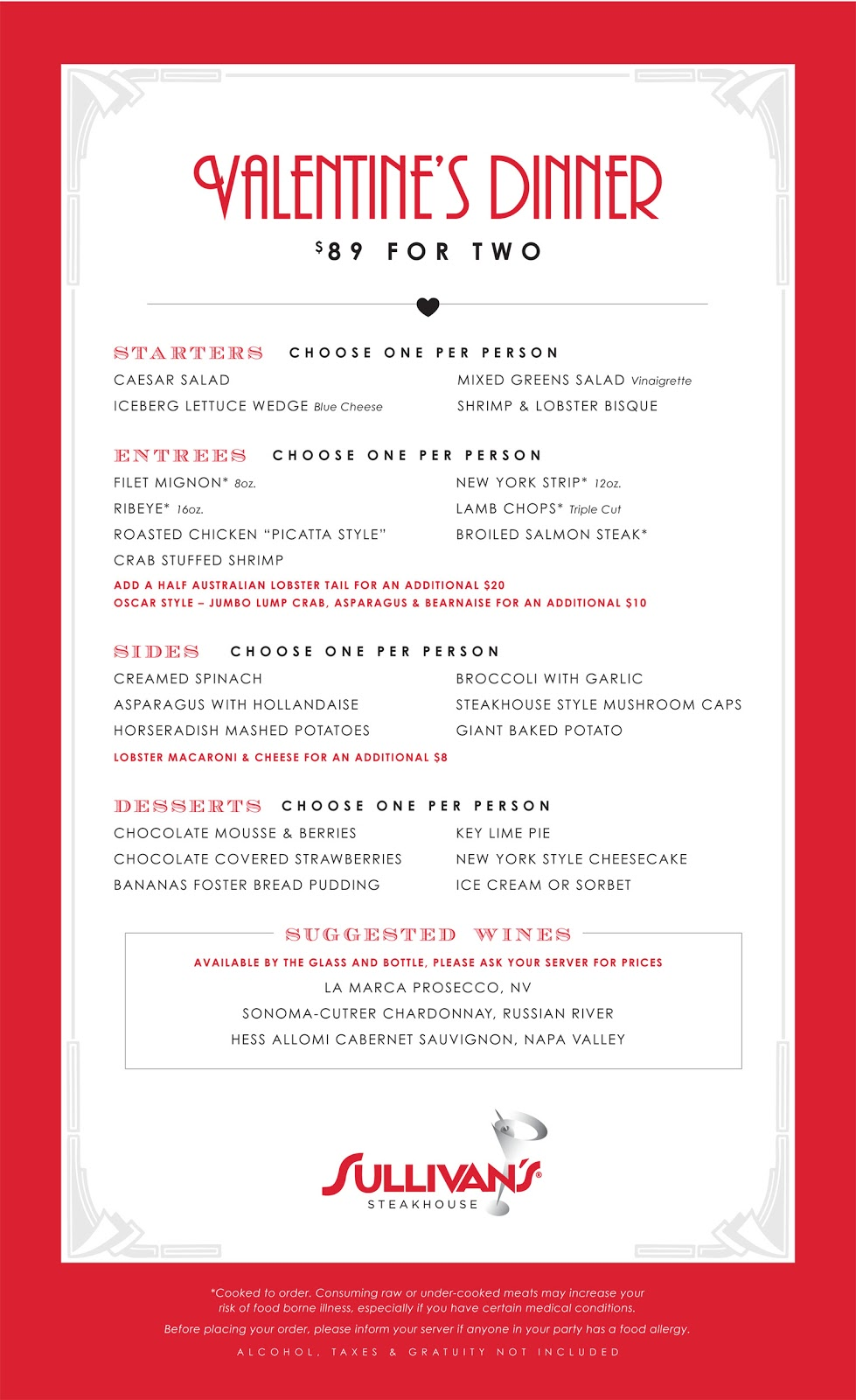 Valentine dinner party menu