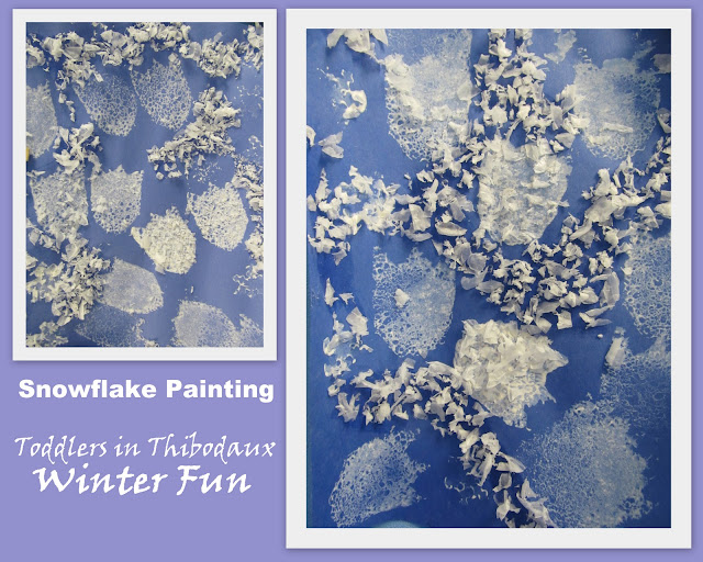 bulletin board for toddler art, snowflake sensory paintings for toddlers, toddler art for winter, toddler projects for art