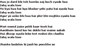 Ishq wala love lyrics student of the year song meaning and