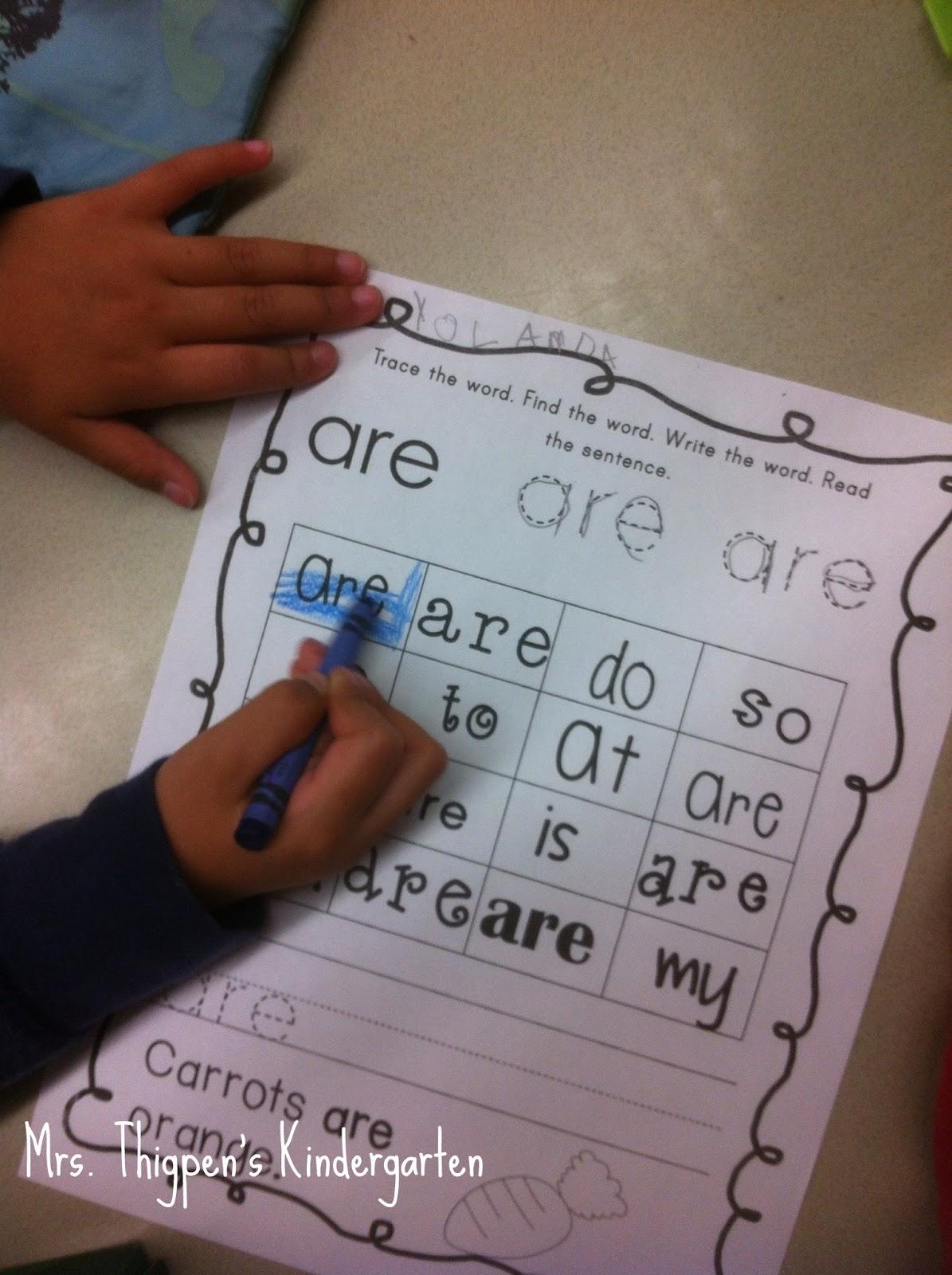 Mrs. Thigpen\'s Kindergarten: Sight Word Ideas and a little freebie