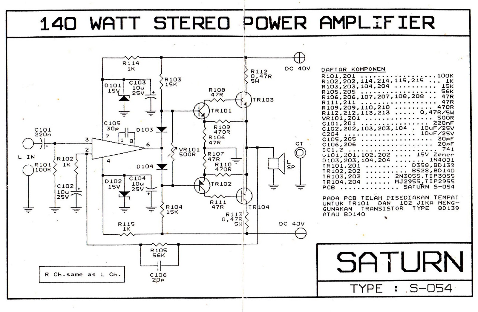 Dk Tech Pcb Audio Power Amplifier  Skema Power Amp Class Ab  Class H   Otl