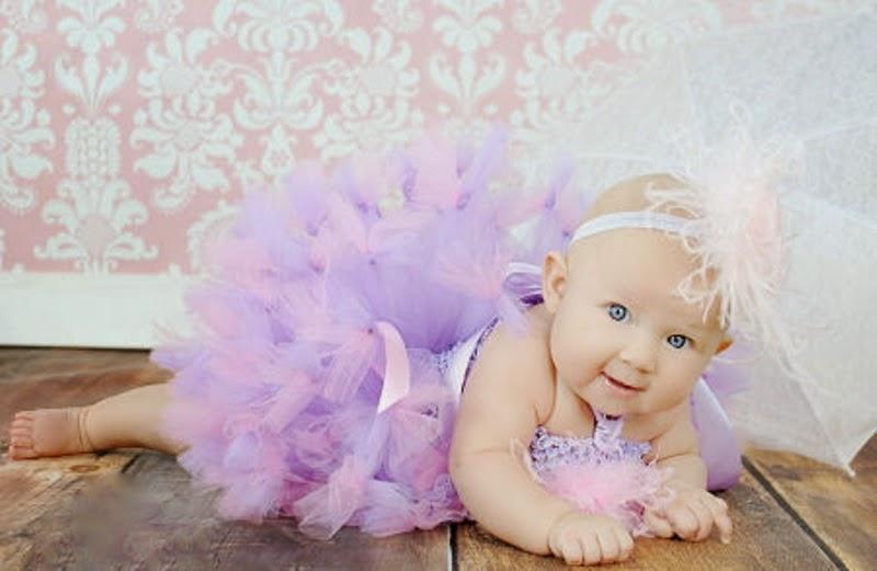 Gambar bayi lucu pakai tutu dress purple terbaru