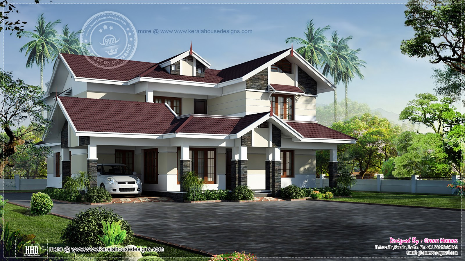 Beautiful 2700 square feet villa home kerala plans for Beautiful villa design