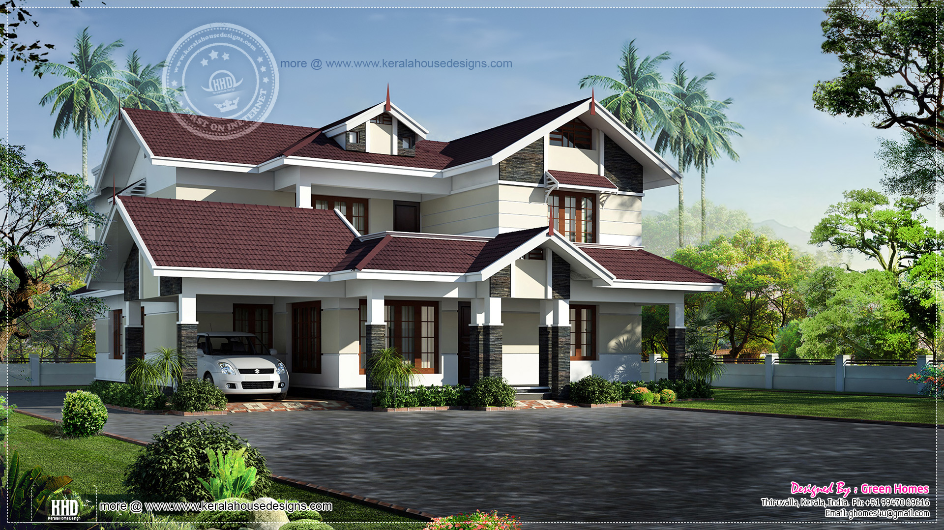 Beautiful 2700 square feet villa kerala home design and for 2700 sq ft house plans
