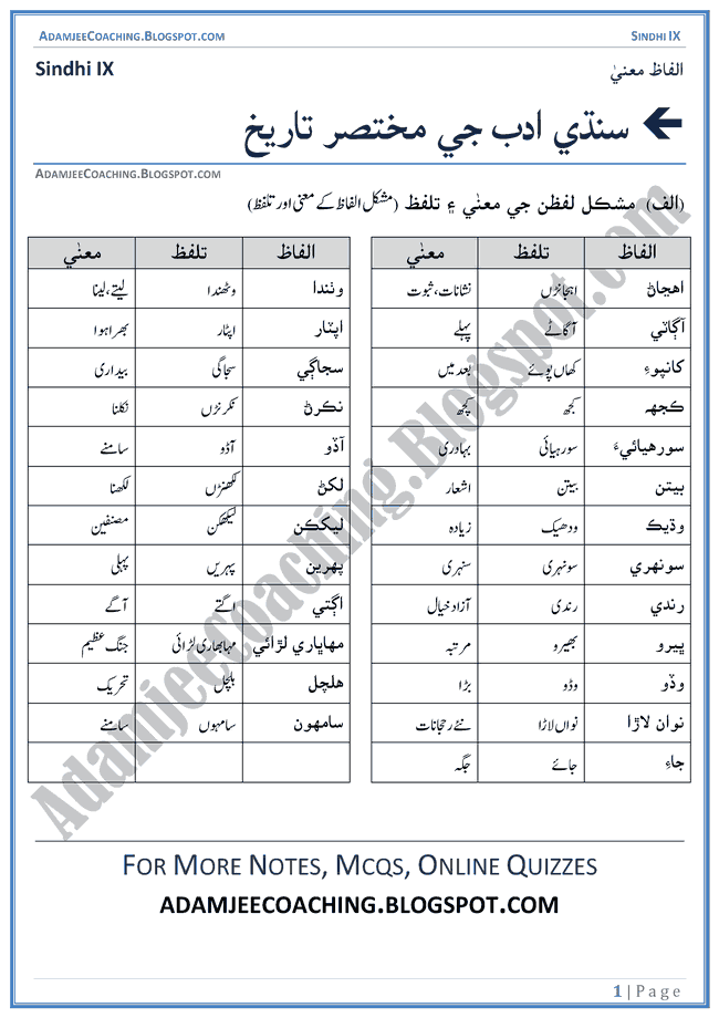 sindhi-adab-ki-mukhtasar-tareekh-words-meanings-and-idioms-sindhi-notes-for-class-9th
