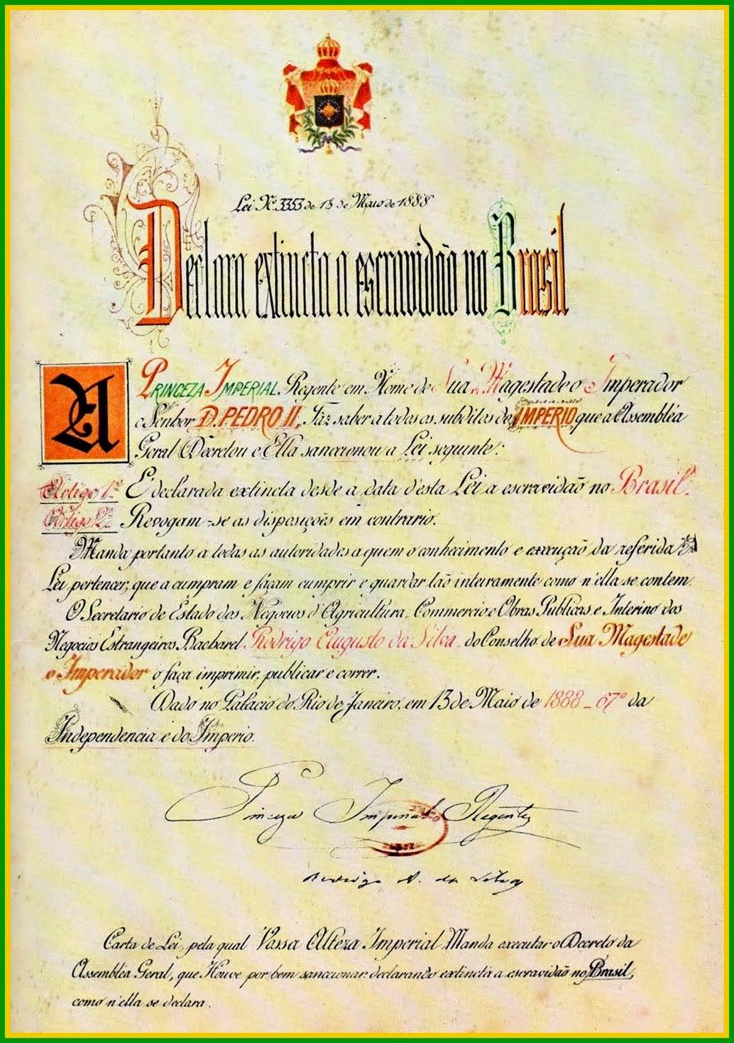 13 de Maio - Lei Áurea - Vitória Abolicionista