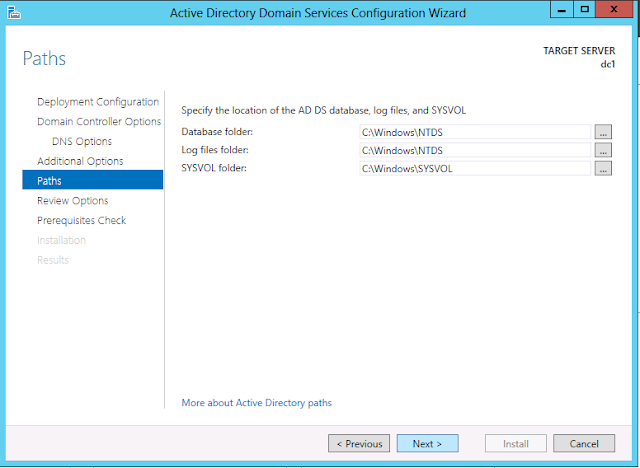 Windows Server 2012 active directory paths configuration