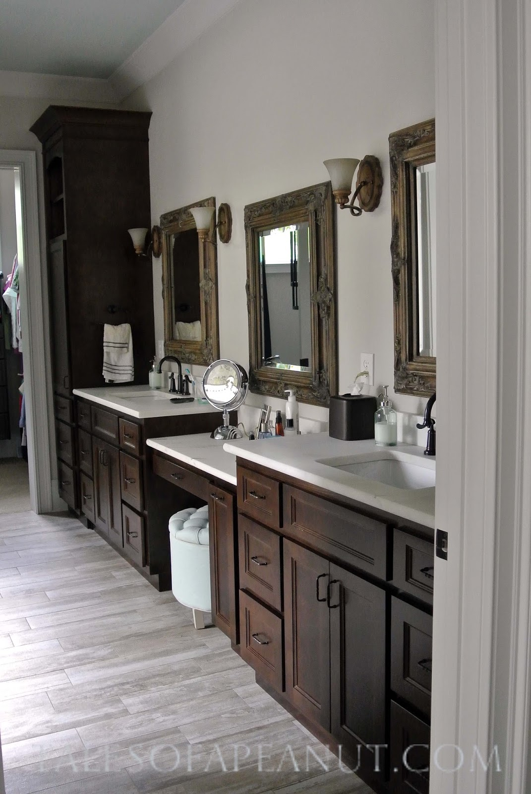 Building a home master bathroom reveal jenn elwell for Grey floor black cabinets