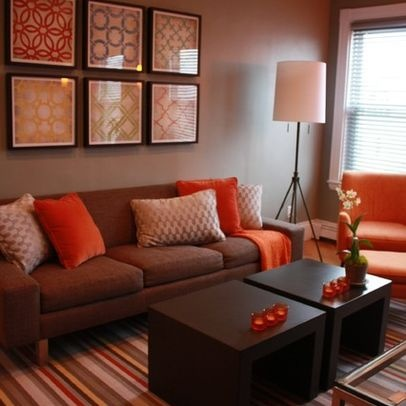 10 salas de color naranja y marr n colores en casa Orange and red living room design