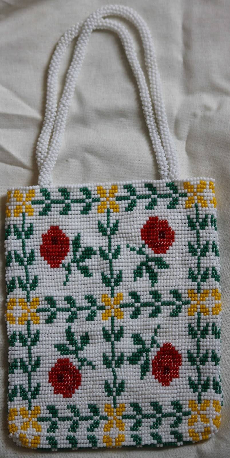 ... : Red rose bead loom bag - using cross stitch patterns for bead looms