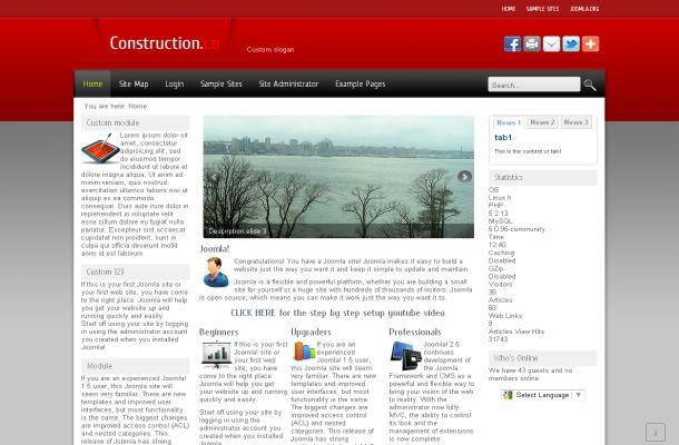 Red Joomla Templates Free Web2.0 Red Business Joomla Theme Template