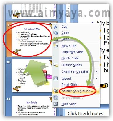 Gambar:  Cara mengatur format backround  slide Microsoft Powerpoint