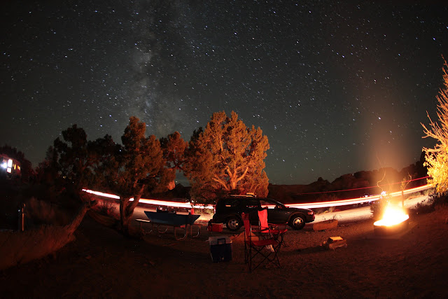 At Arches National Park camping under the stars in the Devil's Garden campground.